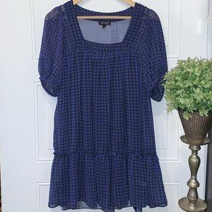 Topshop houndstooth dress mini black blue size 4